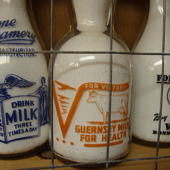 IDEAL FARMS QUART WITH UNUSUAL WAR SLOGAN - Bottles