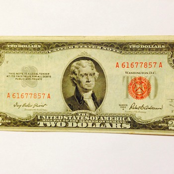 Red stamped $2 bill and silver certificate money  - US Paper Money