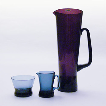 MILANO jug and creamer-sugar bowl set, Sakari Pykala (Riihimaki Lasi, 1950s) - Art Glass