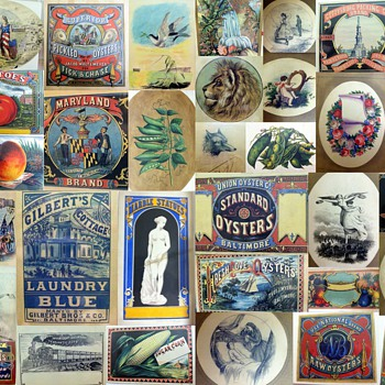 Collage of Canning Labels from the 1860's - Samuel Oliver, Artist - Advertising