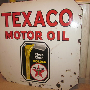Texaco Double Sided Porcelain Sign...Six Colors - Petroliana