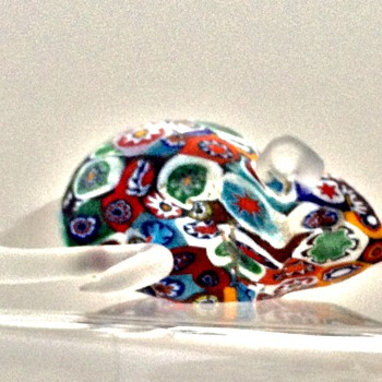 Vintage Murano Satin Millefiori Mouse w/orig Blue Label  - Art Glass