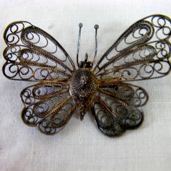 Silver butterfly pin - Costume Jewelry