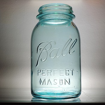 Ball Perfect Mason Canning Jar Aqua Blue Glass Collectible Vintage 28 Ounces 1923 - 1933 #2 - Bottles
