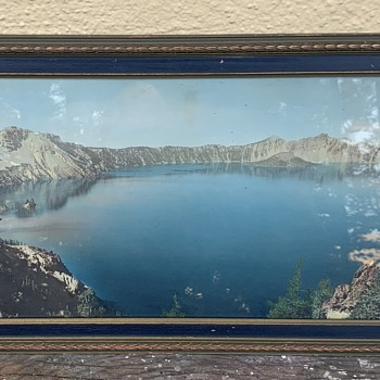 1920s Large Hand-colored Photo of Crater Lake in Oregon - Photographs