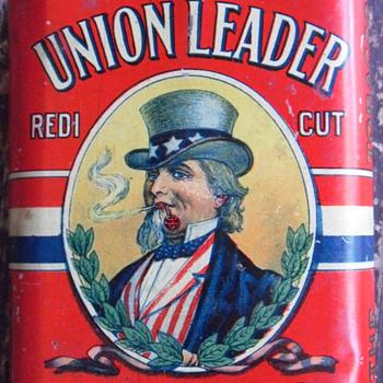 Union Leader Tobacco Tin-Uncle Sam - Tobacciana