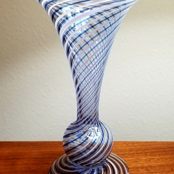 Murano Blue White Mezza Filigrana Vase - Art Glass