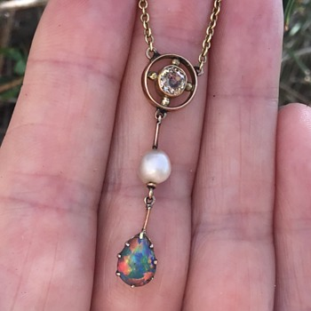 Edwardian Gold Diamond Pearl and Opal Necklace. - Fine Jewelry