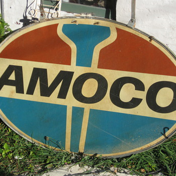 Amoco sign fiberglass with ring and hangers - Petroliana