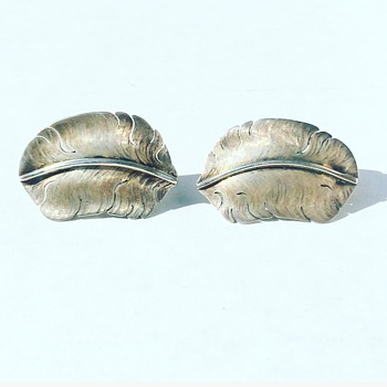 Vintage Sterling Silver Feather Earrings by M Kirk