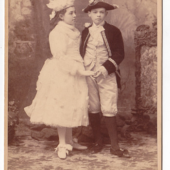 Elmer Chichering Cabinet card of 2 children in costume - Photographs
