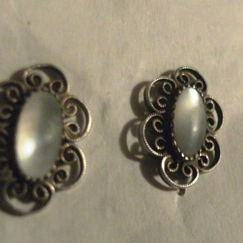 Vintage Sterling Pearl Or Moonstone Stud Earrings? - Fine Jewelry