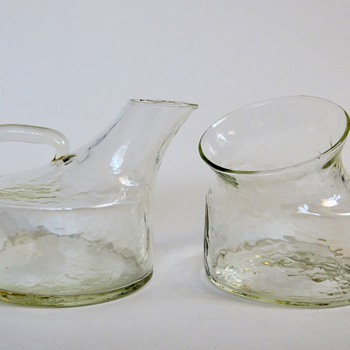 Vintage Mid Century Scandinavian Glass Sugar Bowl & Creamer, Great Design