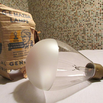 Antique Pat. Date 1904 Large Frosted Edison Bulb - Lamps