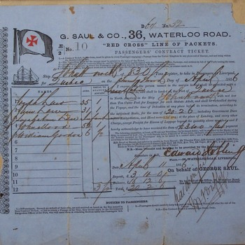 Earliest known Passenger Contract from Liverpool to Quebec City.April 23rd.1856 - Paper