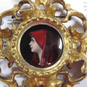Antique Framed Copper Enamel Painting of Fabiola  - Fine Art