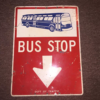 "1960s ""BUS STOP"" sign from New York City - Signs"