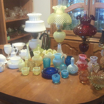fenton hobnail collection, with lamps - Glassware