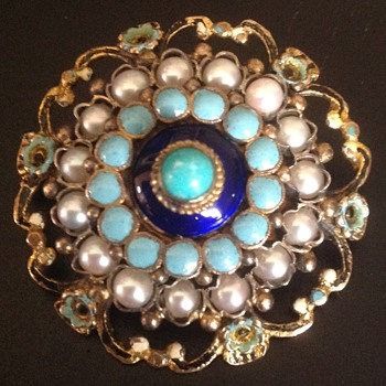 Austro-Hungarian Enamel Pin Brooch with Half Pearls - Fine Jewelry