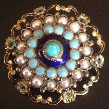 Austro-Hungarian Enamel Pin Brooch with Half Pearls