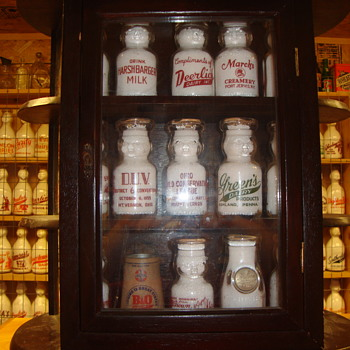 Perfect size vintage cabinet to hold 1/2 size pyro baby top milk bottles...... - Bottles