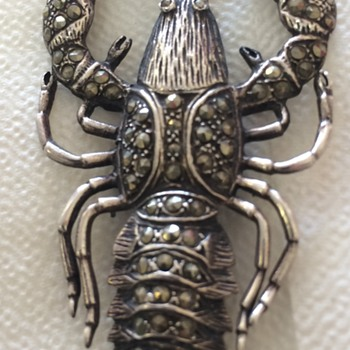 Silver and Marcacite Lobster Pin - Silver