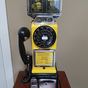 Automatic Electric Three Slot Coin Payphone 1960's