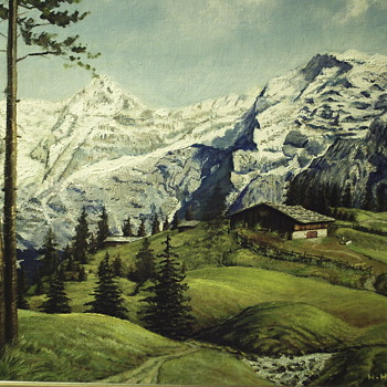 "Oil Painting on Masonite Board ""Germany landscape"" 1964 - Fine Art"