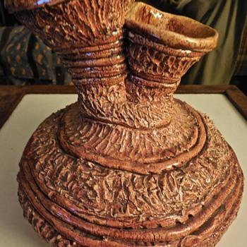 Carved Brutalist Vase - Pottery