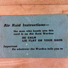 WWII air raid shelter instruction card