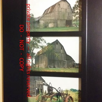 framed photographs of my Grandpa's barn (and plow) - Photographs
