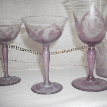 Lavender Crystal Stemware with pictures of deer, buildings and flowers - Glassware