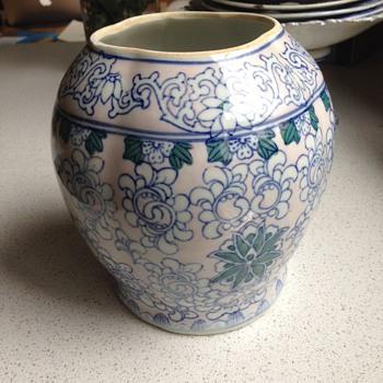 Blue & White vase, interesting shape - Pottery