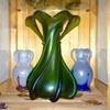 Deco Baranek White Pulled/Purple & Blue on Blue Kralik Iridescent Vases