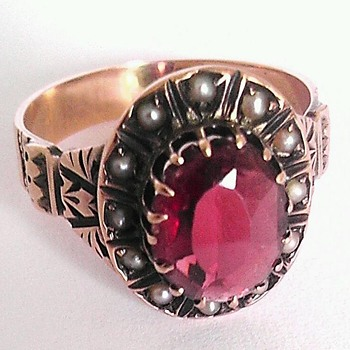 Victorian rose gold & seed pearl ring( Mystery Mark) - Fine Jewelry