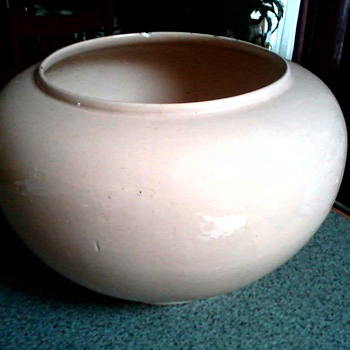 "Large 14"" Ceramic Jardiniere  / Sandalwood (Pink-Tan) Glaze / Unknown Maker and Age - Pottery"