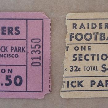 1960 & 1961 Oakland Raiders Ticket Stubs