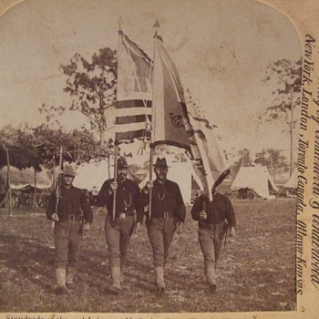 SAW Stereoview of 2nd Infantry Color Guard - Military and Wartime