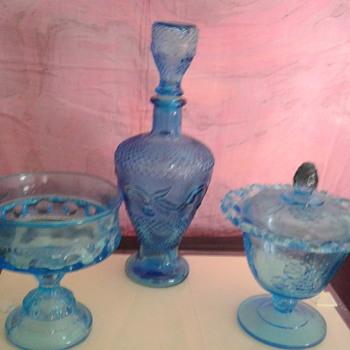 Blue glass bowl, dish, vase - Glassware