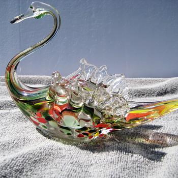 Art glass swan - Art Glass