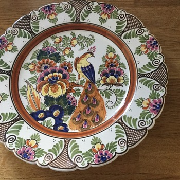 Coloured delft plate - Pottery