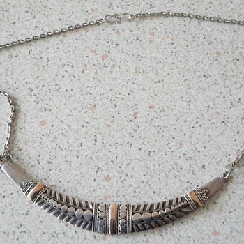 Unusual 925 silver with gold accents necklace