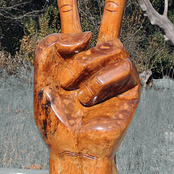 "MASSIVE 40"" Hand Carved Peace Sign. 1971 Vietnam Vet Bring-back.  - Fine Art"