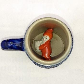 "3 1/2"" Child's Miniature German Salt Glaze Stein Surprise Inside Souvenir Mug - China and Dinnerware"