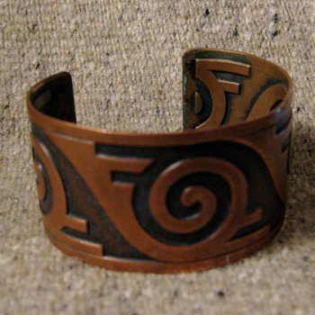 1970's copper cuffs with Indian motifs for tourist market - Costume Jewelry