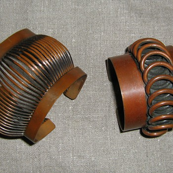 Rebajes wide copper cuffs from the 1950's - Costume Jewelry