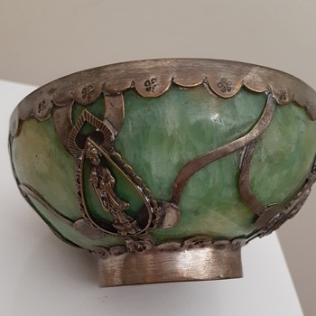 Japanese silver and ?jade bowl - Silver