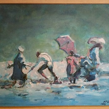 Painting, shore, McElwees - Fine Art