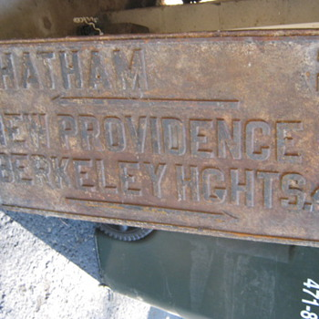"NJ CAST IRON ROAD SIGN, 18""X36""..HEAVY - Signs"