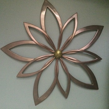 Copper/Bronze Large Flower Wall Art/Sculpture - Mid-Century Modern